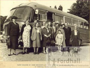 party conveyed by jones coachways ltd. from liverpool to mr hollins farm at fordhall. market draytona